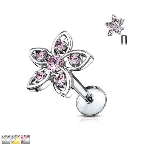 Flower Top Cartilage Earring Internally Thread